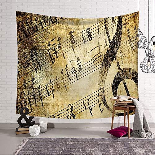 KHKJ Serie de Notas Musicales Tela Colgante Dormitorio cabecera Arte Tapiz de Pared decoración del hogar Tela de Fondo A1 200x180cm
