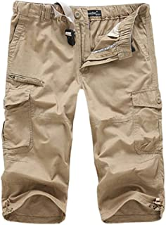 HZKLFS Cargo Shorts for Men Elastic Waist Below Knee Multi-Pocket