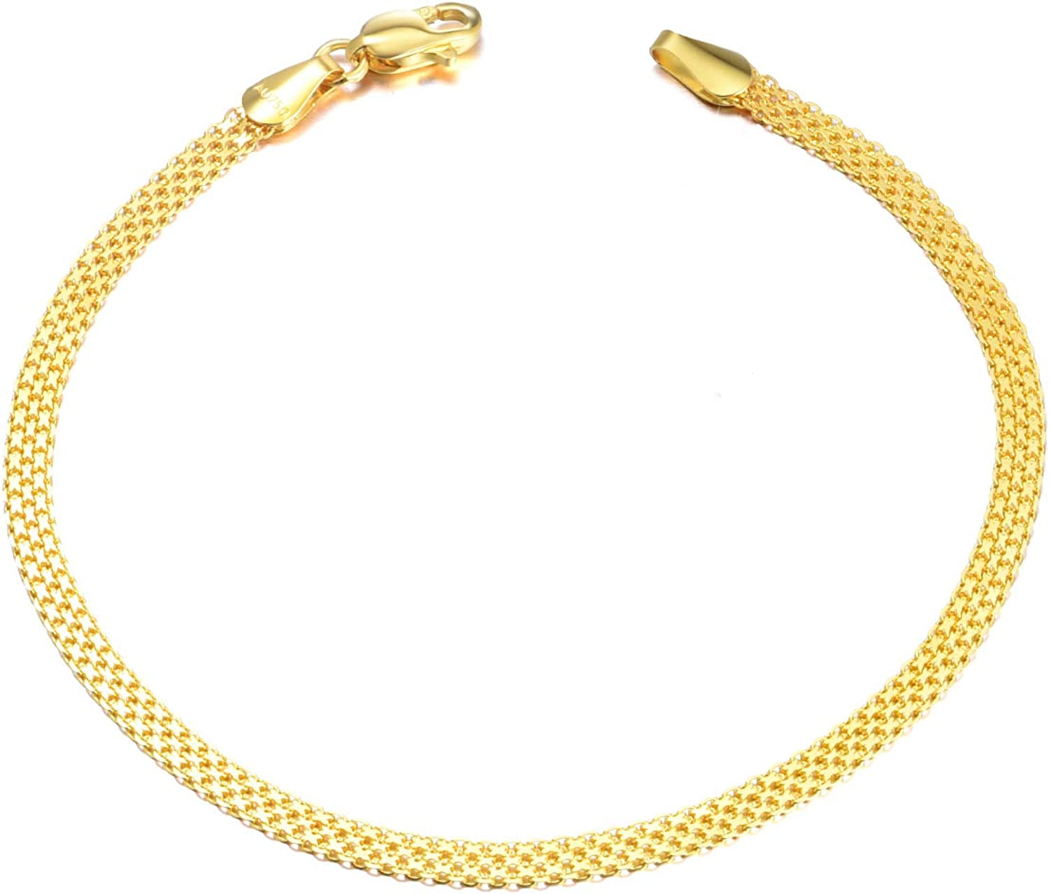 Solid 18k New product! New type Max 63% OFF Gold Italian Mesh Link Bracelets Fine Women Chain for