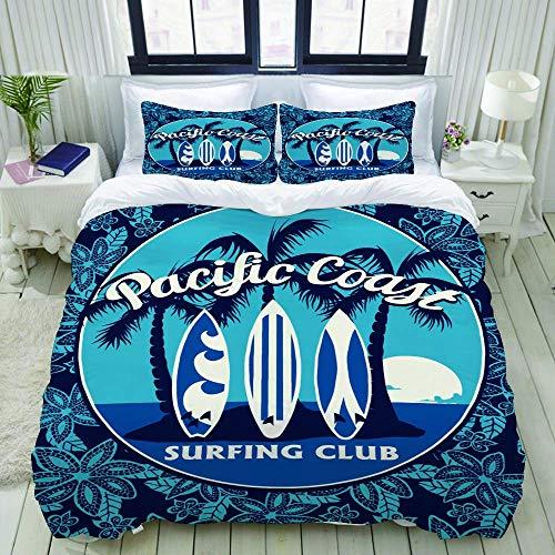 Jojun Funda nórdica, póster de Club de Surf Tropical con Palmeras y Tablas de Surf, Juegos de Cama Decorativos de 3 Piezas con 1 Funda de edredón y 2 Fundas de Almohada para Adolescentes Adultos