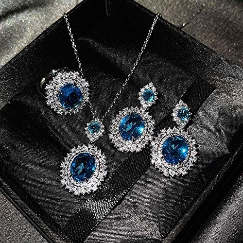 YZYZ Tesoro De Color De Lujo Europeo Y Americano con Anillo De Topacio Azul Marino, Pendientes De Citrino, Collar De Diamantes Rosas para Mujer