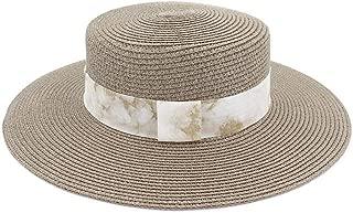 Bin Zhang Women Summer Beach Raffia Black White Ribbon Hat Bow Raffia Hat Temperament Flat Straw Hats Women's Sea Beach Hat