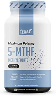 L Methylfolate 7.5mg – DNA Verified for Maximum Potency – Superior Bioavailability – 5-MTHF Methyl Folate for Mood, Cognition, Immunity, Cardiovascular, Neurological, Reproductive, Detoxification (30)