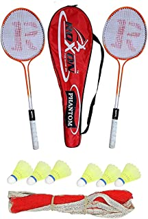 ROXON Phantom Double Shaft Iron Body Badminton Racket Pack of 2 Piece with 1 Piece Full Cover and 6 Piece Plastic Shuttle ...