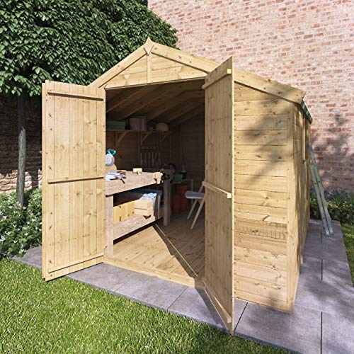 BillyOh Master Tongue and Groove Apex Shed | Pressure Treated Wooden Garden Shed with Floor and Roof Included | Windowed Storage Unit - 4 Sizes (10x8)