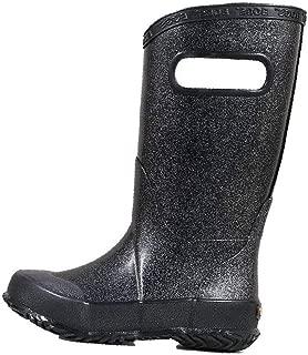 BOGS Kids Rainboots Waterproof Rubber Rain Boots for Boys and Girls, Glitter - Black, 3 M