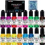 Coloranti per Resina Epossidica - 16 Colori Pigmento Resina Epossidica Liquido per Resina Bicomponente Art - Colorante Resina Concentrata per Gioielli Fai da Te, Creazioni Artistiche - 10ml Ciascuno