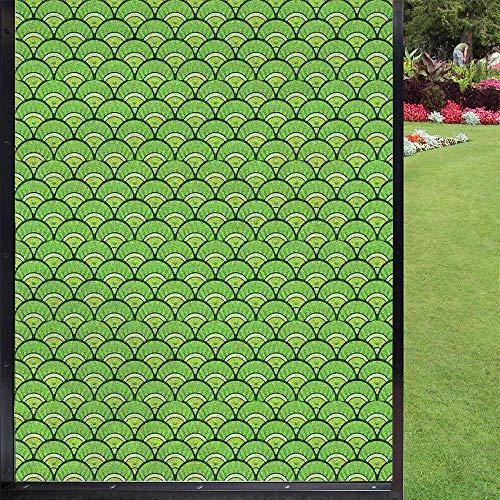 Protector de ventana abstracto, protector de ventana para privacidad, protector de ventana de privacidad, adhesivo estático, verde manzana y verde lima, 60 x 90 cm