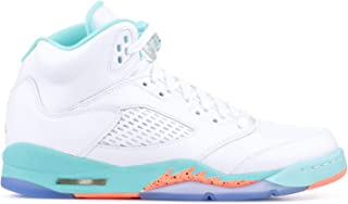 Nike Air Jordan 5 Retro Kids GS White/Crimson Pulse-Light Aqua 440892-100