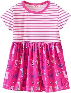 K-youth® Ropa Niña Verano Vestido de Manga Corta con Estampado Floral de Rayas Plisado para Niñas Vestidos de Princesa Fie...