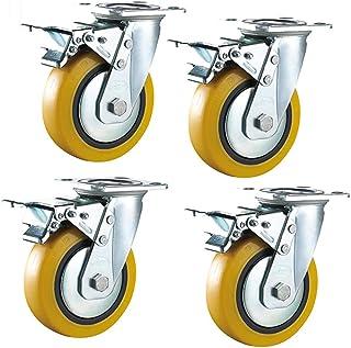 Castor Wielen 4× Heavy Duty Swivel Casters Wheel Met Remmen, Industriële Rubber Caster Stille Draagvermogen 1800 Kg