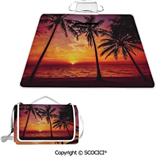 SCOCICI Easy Carry Superior Material & Durable Super Soft Beach Picnic Blanket Mat Sunset Tropical Beach Palm Trees Peaceful Ocean Evening View Resort Premium Design Multiple Use
