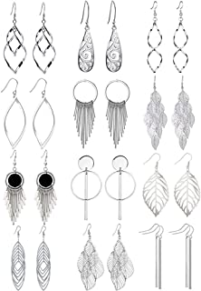 6 Pairs Drop Dangle Earrings Golden Silvery Fashion Jewelry Fringed Tassels Character Exaggerated Earrings Set for Women &...