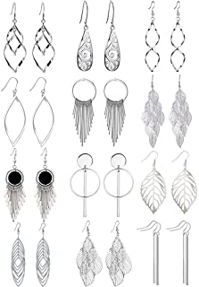 Venianus 12 Pairs Drop Dangle Earrings boho Fashion Jewelry Vintage Statement Boho Bohemian Earrings Set for Women Girls