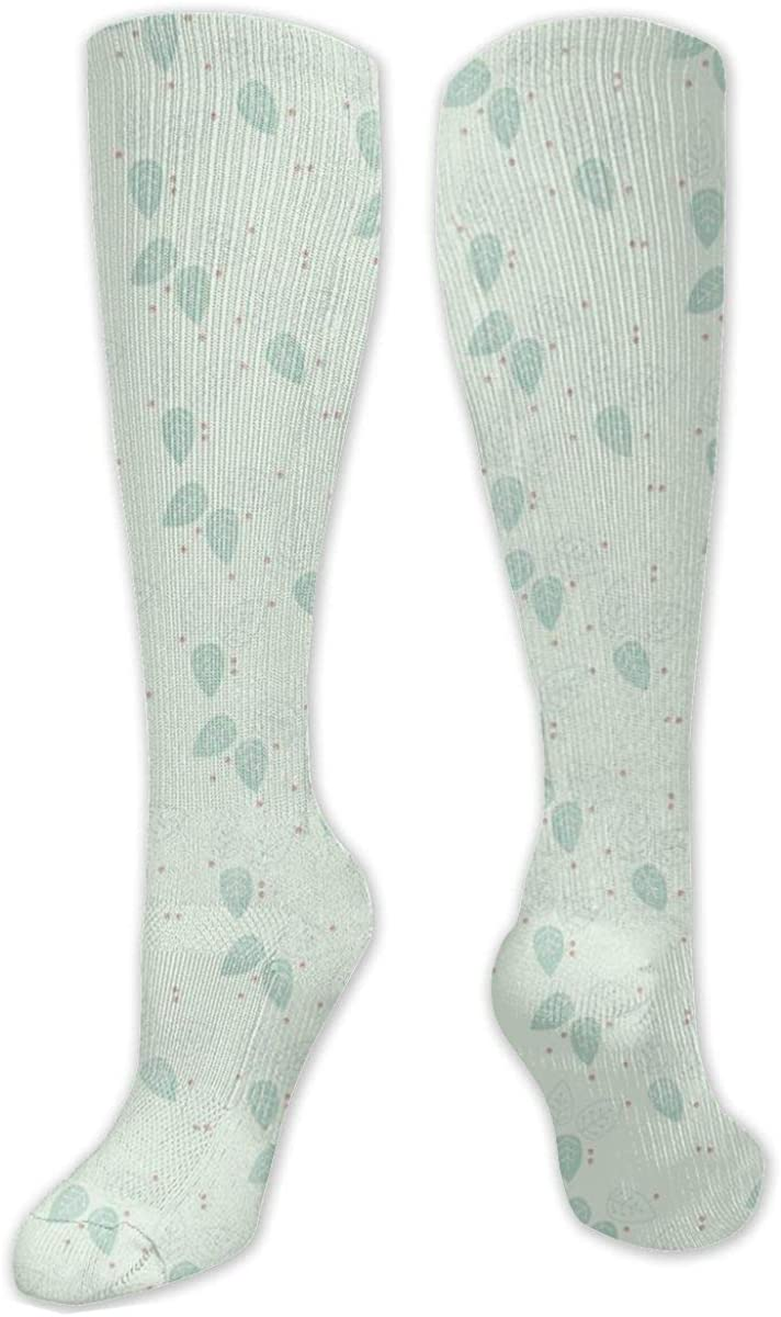 Green Leaf Pattern Knee High Socks Leg Warmer Dresses Long Boot Stockings For Womens Cosplay Daily Wear