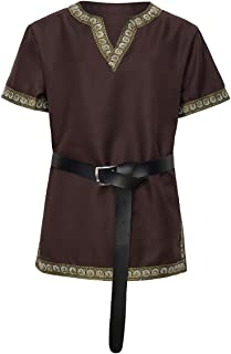 Medieval Knight Tunic Viking Warrior T-Shirt Costume with Belt