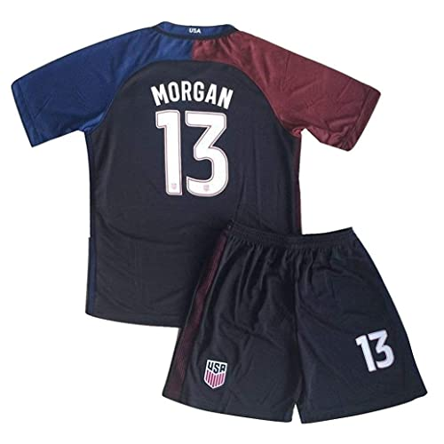 86ad20fef Morgan Jersey and Shorts  13 New USA National 3rd Alex for Kids Youth Black
