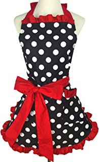SMARTitns Aprons for Women Retro Vintage Aprons, Cooking Kitchen Aprons Plus Size with Extra Ties & Pocket 28.3 x 24.4 (Red Color)