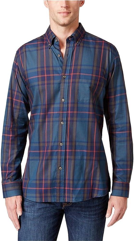 Tricots St. Raphael Mens Plaid Button Up Shirt, Blue, 3XLT