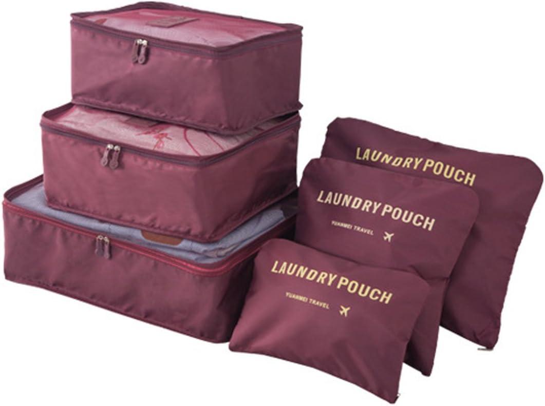 Organizador de Viaje Organizadores para Maletas, EASEHOME 3Pcs Cubos de Embalaje + 3pcs Bolsas de Almacenamiento para Ropa Zapato Cosmético Impermeable Bolsa de Lavandería, Vino Rojo