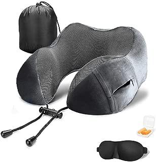 PLXX Travel Pillow Comfortable Portable Memory Foam Neck Pillow for Airplane Car Train Office - Premium Travel Neck Pillow Kit with Eye Masks & Earplugs & Washable Cover & Storage Pocket Grey