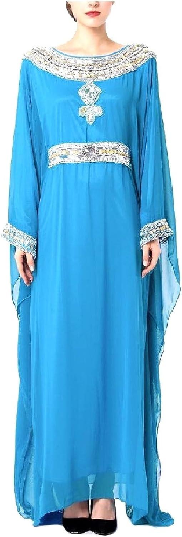 ComfyWomen Round Neck Long Maxi Premium Dress Muslim Dresses Abaya