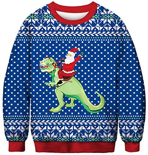 Un pull avec un tyrannosaure de Noël