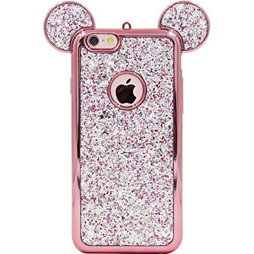 Funda para iPhone 6S, MC Fashion 3D Mickey Mouse Ears, funda de silicona, linda, suave y ligera para Apple iPhone 6S (2015) y iPhone 6 (2014)