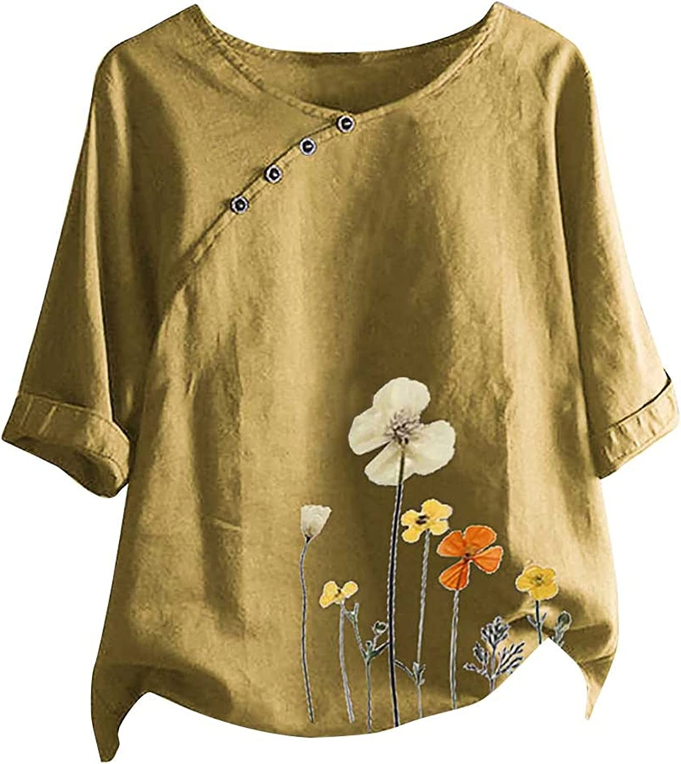 Women Plus Size Tops Floral Print Half Sleeve O Neck Summer Casual T-Shirts Oversized Blouse Loose Fit Blusas