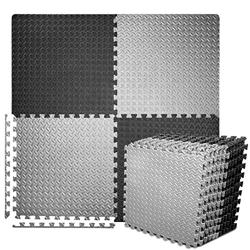 "Puzzle Exercise Mat with 12 Tiles Interlocking Foam Mats, 24'' x 24'', ½'' Thick EVA Foam Floor Tiles, Protective Flooring for Gym Equipment and Cushion for Workouts (½"" Thick, 48 Square Feet)"