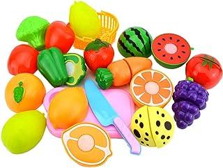 Kanggest.Corte de Frutas y Alimentos Falsos 15 Piezas Cocina Juguete Niños Juguete Plástico de Corte de Vegetales de Fruta Juego de imaginación Juego de rol de Niños (Juguetes de Cocina)