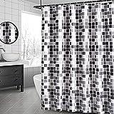 MeYuxg Leichter Mosaik-Duschvorhang, klassischer geometrischer Duschvorhang, Stoff zum Waschen aus wasserabweisendem Polyester, Dekoration für Badezimmer (180 x 200 cm)