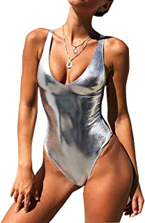 Best Sexy Liquid Metallic Glitter One Piece Push Up Swimsuit Female Shiny Solid High Cut Beachwear Review