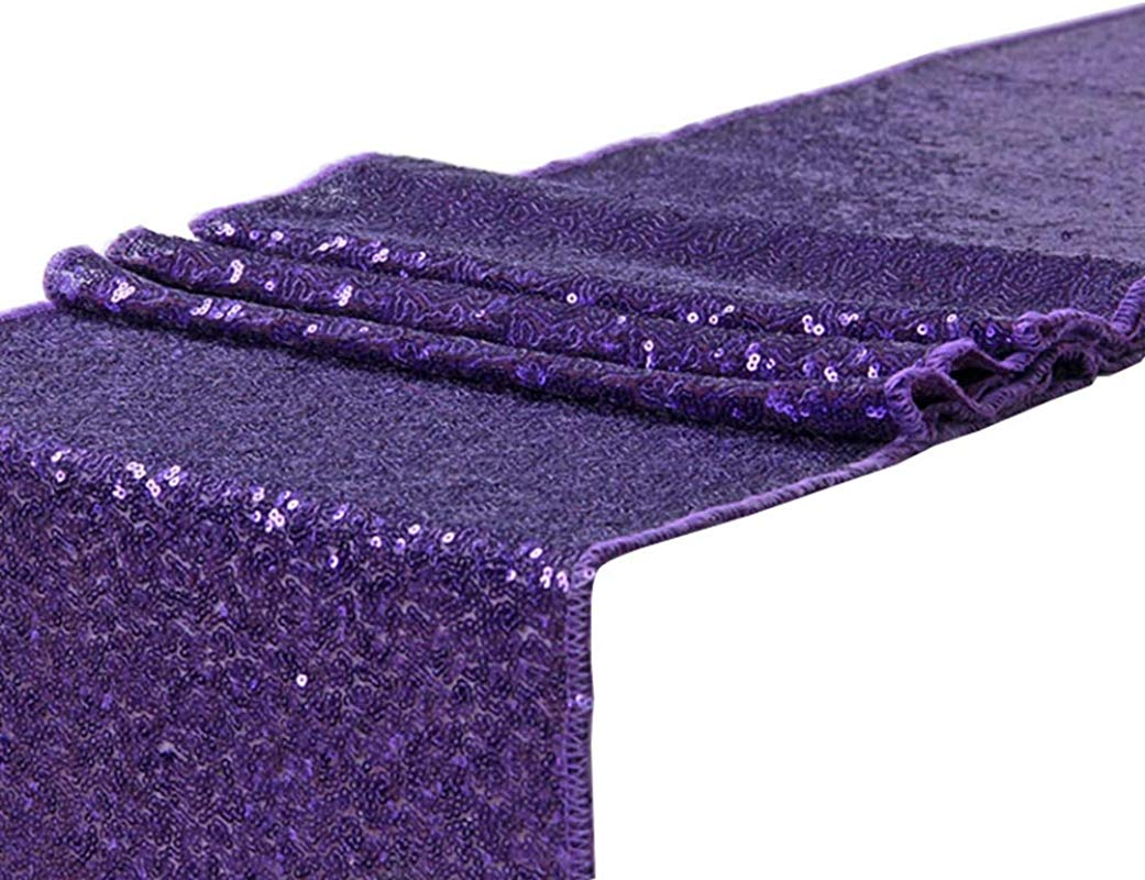 LivebyCare Multi Colors 12X71 In Sequin Graduation Table Runner Decorations For Wedding Round Table Party Bling Table Runner Handmade For Hotel Dining Table Purple