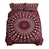 Koongso Juego de ropa de cama bohemia de luz de la luna de color azul bohemio, bonito regalo liso de sarga para el hogar textiles funda de edredón tamaño individual