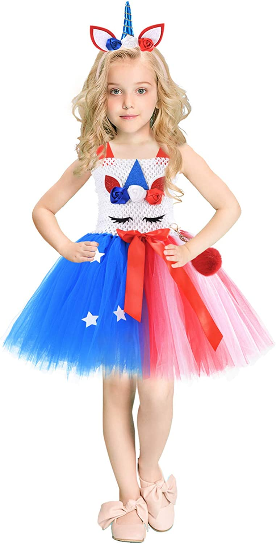 Toddler Kids Baby Girls 4th of Dress High quality new July Unicorn Boston Mall Straps Bowknot