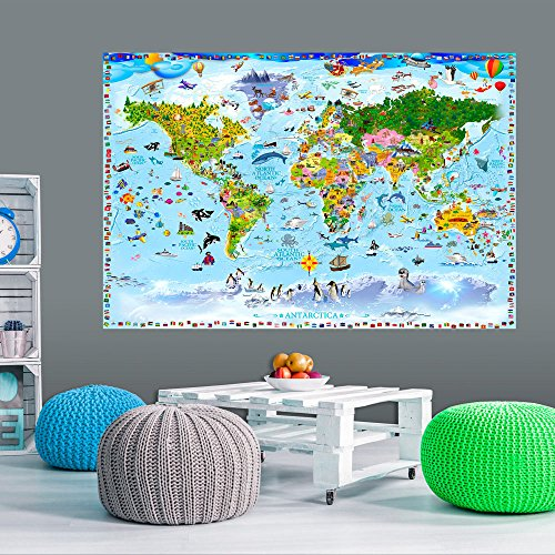 murando - VLIES POSTER WELTKARTE für Kinder 150x100 cm Wandbild - Kunstdruck - Bild - Fototapete - Dekoration - Design Welt Karte Landkarte e-A-0102-c-a