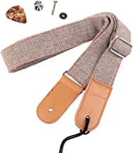 HOT SEAL Linen Style Adjustable Genuine Uke Leather Metal Hook Ukulele Strap Strong Back..