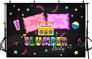 MEHOFOTO Slumber Party Birthday Party Decorations Banner Photo Studio Booth Background Pajama Girls Sleepover Pillow Fight Black Backdrops for Photography 7x5ft