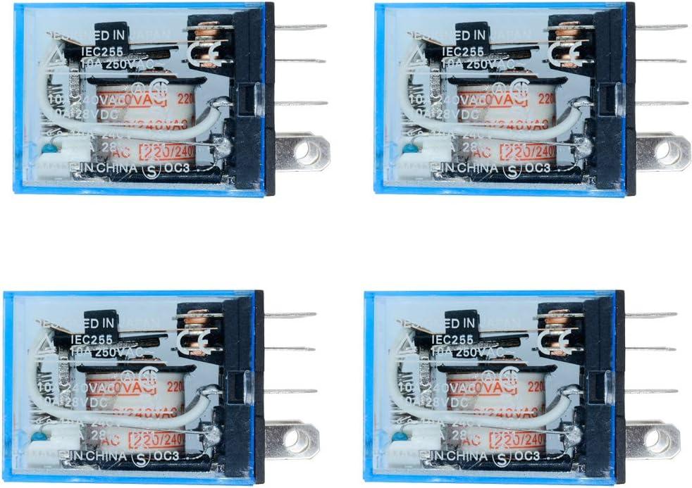 Aideepen 4pcs LY2NJ AC 220V Bobina 10A 240V Relé de Potencia DPDT Lámpara LED