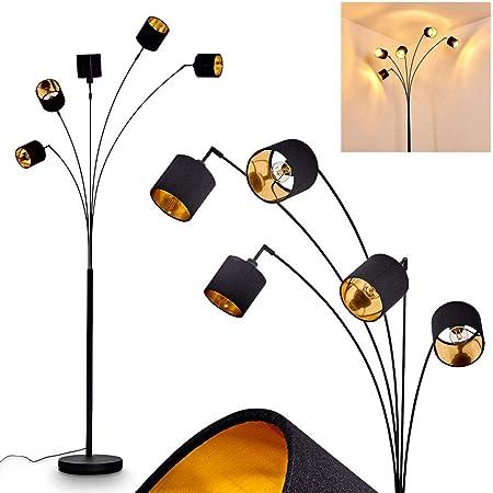 Lampadaire Alsen en métal et textile noir & or, lampe sur pied vintage à 5 spots pivotants et interrupteur sur le câble, hauteur 204 cm, pour 5 ampoules E14 max. 28 Watt, compatible LED