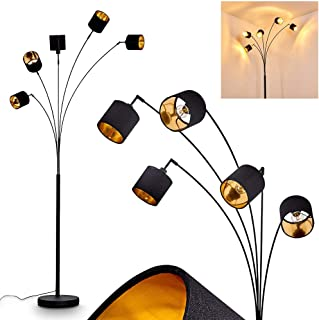 Lampadaire Alsen en métal et textile noir & or, lampe sur pied vintage à 5 spots pivotants et interrupteur sur le câble, h...