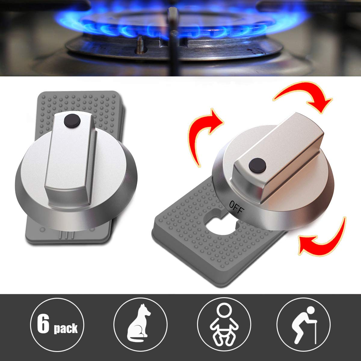 Red Kids Safety Oven Knob Lock Heat Resistant Silicone Gas Knobs Locks 6 Pack Oven Rotary Switch Cooking Surface Control Locks for Baby Child Toddler Pets Safety Kitchen Stove Knob Locks