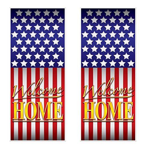 Beistle Welcome Home Door Covers (2 Piece), 30' x 6', Multicolor