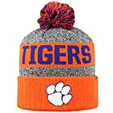 Top of the World NCAA Arctic Striped Cuffed Knit Pom Beanie Hat-Clemson Tigers