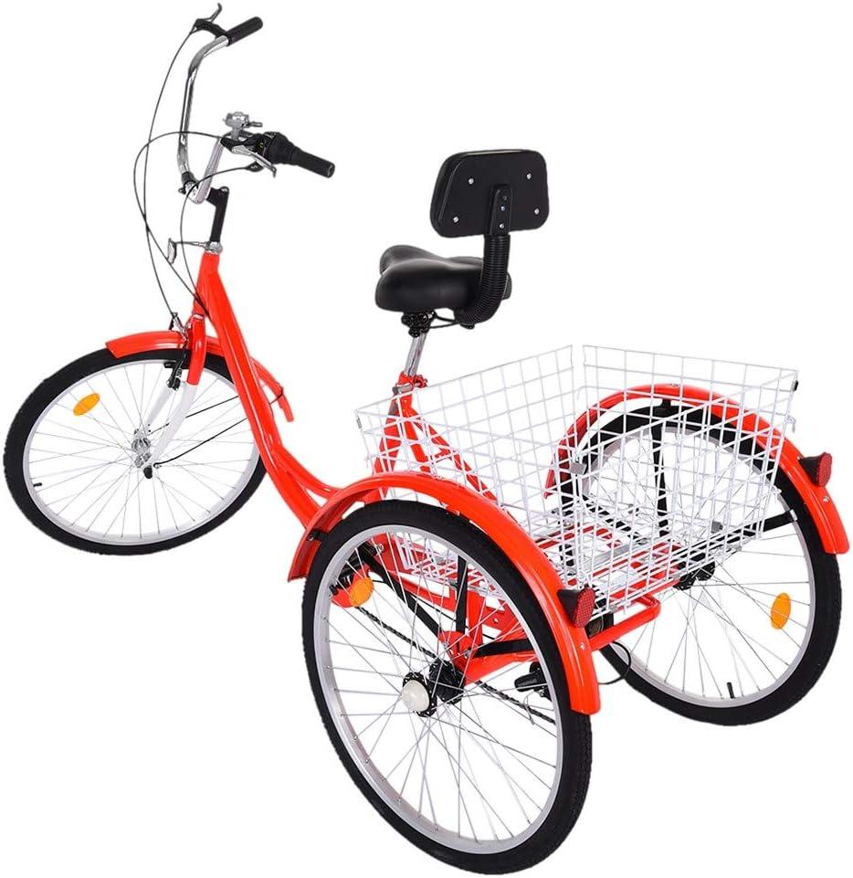 HUPOM 24-Inch 価格交渉OK送料無料 最新号掲載アイテム Wheel Adult Tricycle 1 Speed with 7 3-Wheel Shoppi