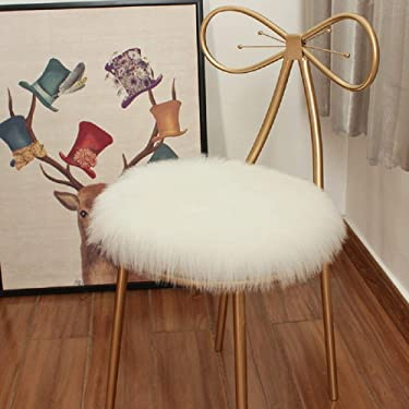 """HEBE 18""""x18"""" Cute Small Round Sheepskin Area Rug Set 2 Pieces Round Faux Fur Seat Cushion Chair Pad Cover Soft Fluffy Area Rugs for Chair Seat Pad Couch Vanity Makeup"""