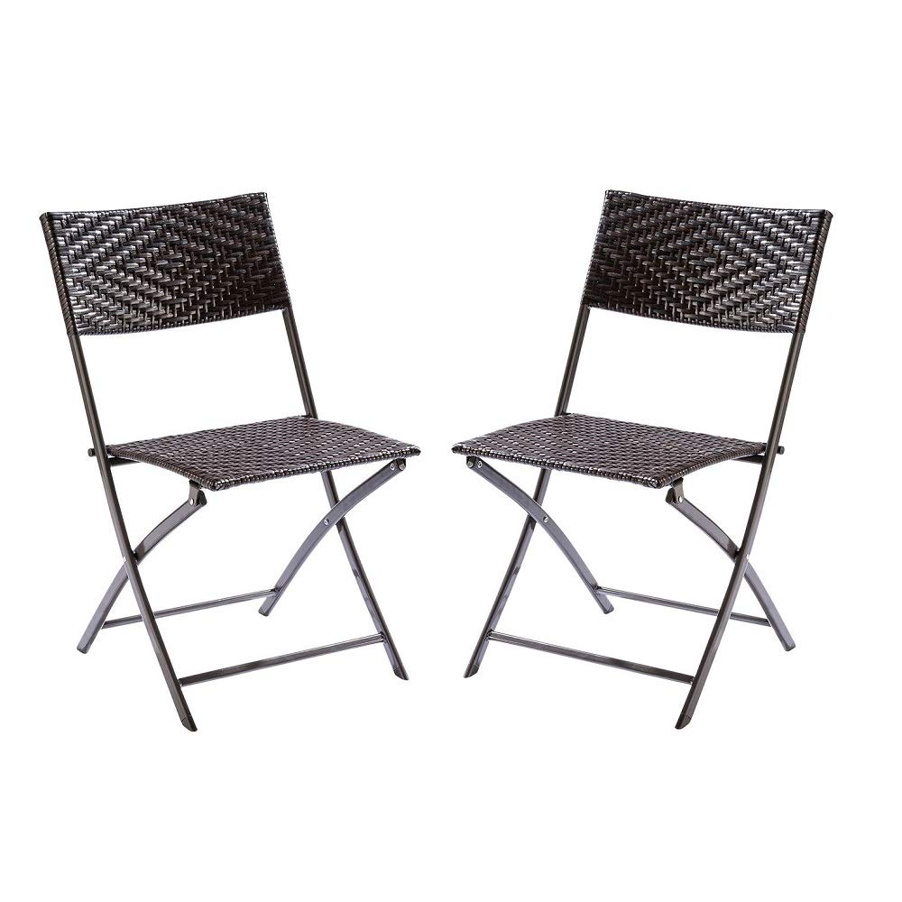 Trueshopping Bistro Folding Garden Dining Chairs Weatherproof Lightweight Very Low Maintenance Furniture Rattan Effect Foldaway Seats Ideal For Use Indoors Outdoors Twin Pack Buy Online In Bulgaria