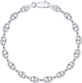 Chaine bracelet pour homme en argent massif 925 rhodié figaro large 5mm neuf