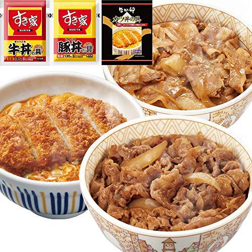 お試しセット牛×豚×カツ(すき家 牛丼の具 135g×5パック、豚丼の具135g×5パック、なか卯 カツ丼の具300g×4食)冷凍食品